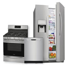 FRIGIDAIRE GALLERY 25.5 Cu. Ft. Side-by-Side Refrigerator & Gas Range w/ Air Fry 3-Piece Package
