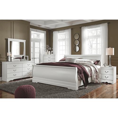 Anarasia - White - 7 Pc. - Dresser, Mirror, Chest, Nightstand & King Sleigh Bed