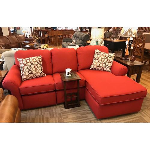 Chaise lounge sectional love seat with power recliner.