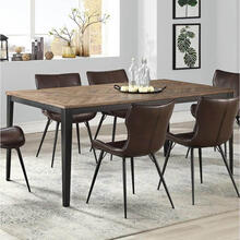 See Details - Brown Wood Top Dining Table