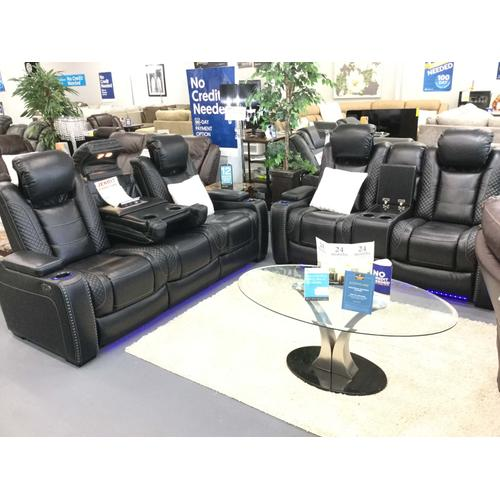Ashley Furniture Party Time Midnight Power Reclining Sofa & Loveseat With Adjustable Headrest