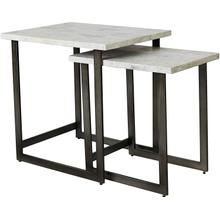 View Product - Bassett Anderson Set of 2 Nesting End Tables w/ Marble Tops