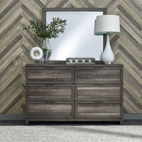 Liberty Furniture Industries - Tanners Creek - Panel Bed 6 Piece Bedroom Set in Greystone Finish - Queen Set