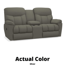 View Product - Morrison Reclining Loveseat w/ Console- Silver