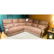 See Details - Trouper Power 3 PC Reclining Sectional in Whiskey fabric      (LZB-72475-E153775,29027,45006,45005)
