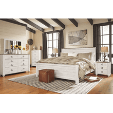Willowton- Whitewash- Dresser, Mirror, Chest, Nightstand & King Panel Bed
