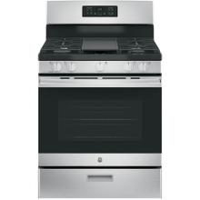 "GE 5.0CF Stainless Steel 30"" Freestanding Gas Range with Steam/Self Clean"