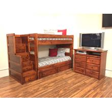 Wrangler Twin / Twin Bunk Bed With Staircase Cocoa