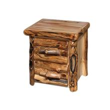 2 Drawer Nightstand Log Front Wild Panel Gnarly Log