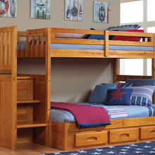 See Details - Honey Stair Stepper Twin over Full Bunk Bed