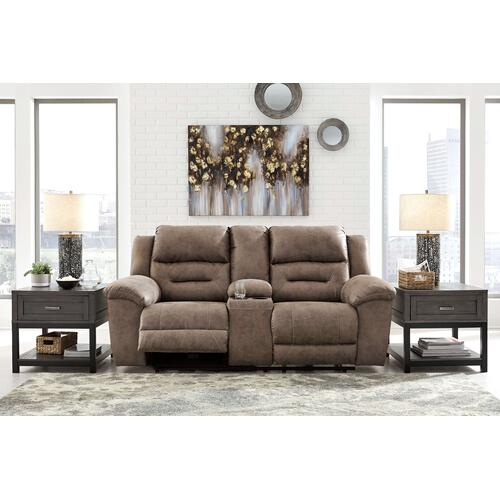 Signature Design By Ashley - Stoneland Reclining Sofa & Console Loveseat Fossil