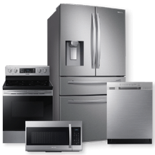 SAMSUNG  4-Door, French Door w/ Twin Cooling Plus & 5.9 cu.ft. Freestanding Electric Range Package- Open Box