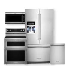 """See Details - KITCHENAID 36"""" Standard Depth French Door Refrigerator & Electric Double Oven Convection Range 4 Piece Package- Minor Case Imperfections"""