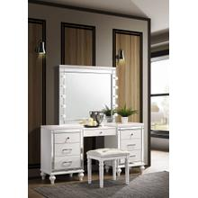 See Details - Valentino White Vanity, Lighted Mirror and Bench