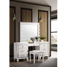 Valentino White Vanity, Lighted Mirror and Bench