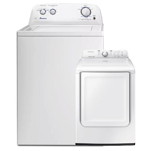 White 3.5 cu. ft. Top-Load Washer with Dual Action Agitator & 7.2 cu. ft. Electric Dryer with Moisture Sensor- Minor Case Imperfections