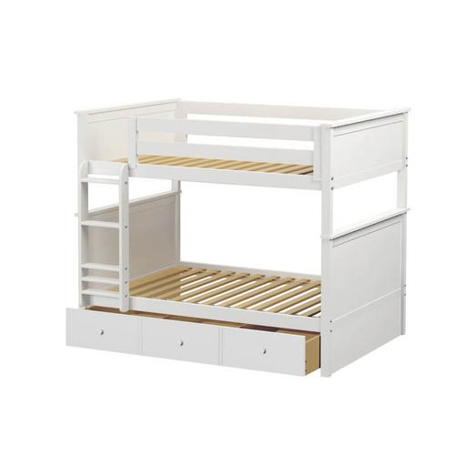 Jackpot Kent Full/Full Bunk   3 Drawer Storage In White Finish