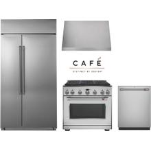 """Cafe 36"""" Professional Gas Range Kitchen with Built In Refrigerator"""