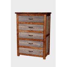 Natural Barn Wood 5 Drawer Chest