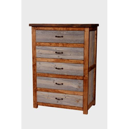 House Lodge Collection - Natural Barn Wood 5 Drawer Chest