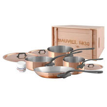 Mauviel M'150c2 Copper & Stainless Steel Cookware Set, 7 Pieces, Cast Stainless Steel Handle With Iron Electroplated Finish, 1.5mm, Wooden Crate