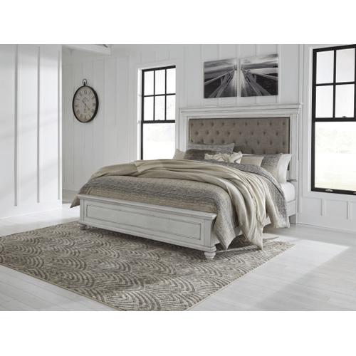Kanwyn - Whitewash - 7 Pc. - Dresser, Mirror, Chest, Nightstand & King Upholstered Bed