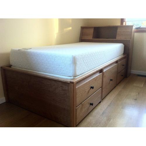 """Gallery - Shaker Twin Size Double High Chested with 12"""" Bookcase Slant Headboard in Cherry Wood"""