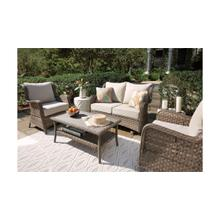 ASHLEY P361-835 P361-820 P361-701 Clear Ridge Outdoor Patio Glider Loveseat, Table And 2 Chairs