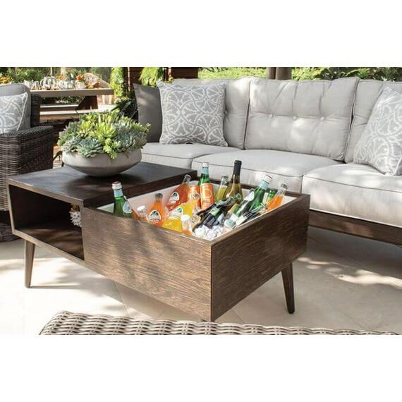 Plank & Hide Co. - Ava Rectagular Coffee Table w/ Ice Bucket