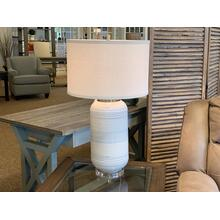 White Ceramic Lamp with Drum Shade