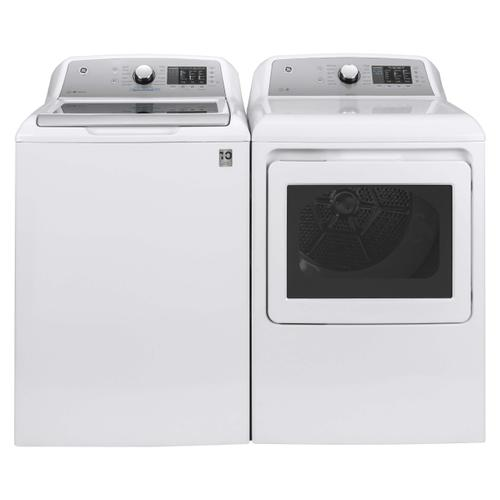 GE® 4.8 cu. ft. Capacity Washer with FlexDispense/GE® 7.4 cu. ft. Capacity aluminized alloy drum Electric Dryer with HE Sensor Dry