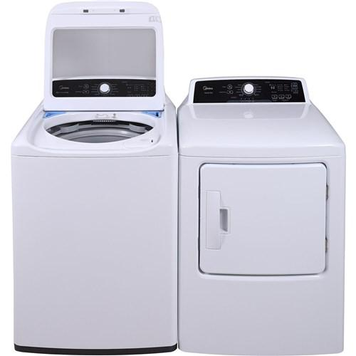 Midea 4.1 CF Top Load Washer - White; 6.7 CF Electric Dryer - White
