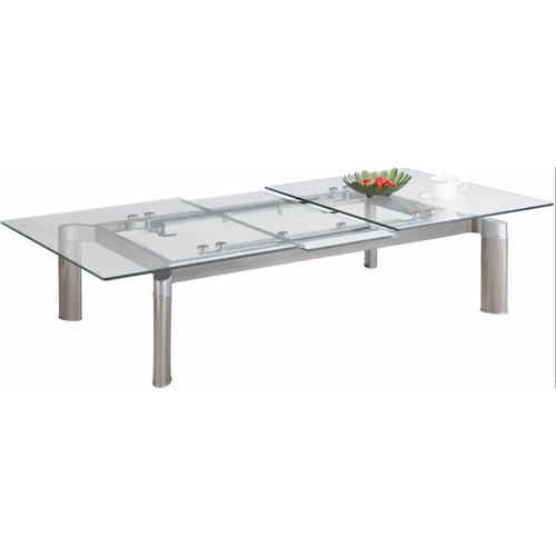 Chintaly Tara Pop-Up Extension Clear Glass Cocktail Table