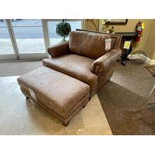 View Product - STALLONE LEATHER CHAIR WITH MATCHING OTTOMAN