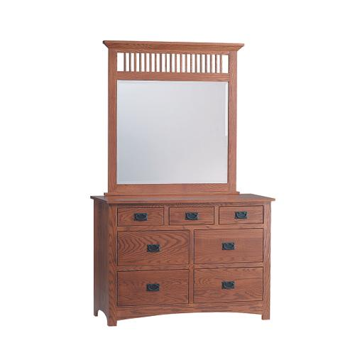 Country Value Woodworks - Mission 7 Drawer Dresser with Mirror