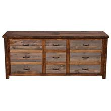 Natural Barn Wood 9 Drawer Dresser