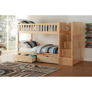 Bartly Bunk Bed Twin on Twin with Reversible Step Storage and Storage Drawers