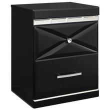 Fancee Black Two Drawer Night Stand