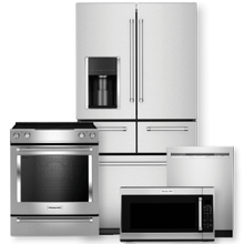 "KITCHENAID 25.8 cu. ft. Multi-Door Refrigerator & 30"" 5-Element Electric Slide-In Convection Range Package- Minor Case Imperfections"