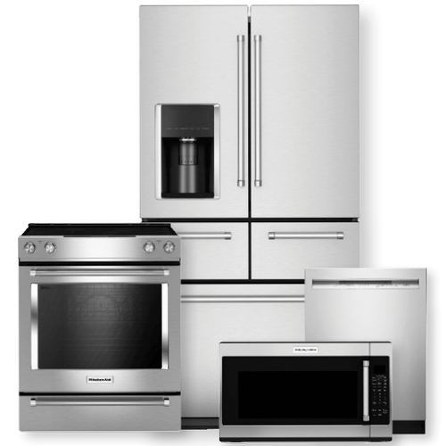 """KITCHENAID 25.8 cu. ft. Multi-Door Refrigerator & 30"""" 5-Element Electric Slide-In Convection Range Package- Minor Case Imperfections"""
