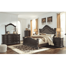 Wellsbrook - Dark Brown - 7 Pc. - Dresser, Mirror, Chest, Nightstand & California KIng Poster Bed