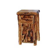 Tall 1 Drawer / 1 Door Nightstand Log Front Natural Panel Gnarly Log