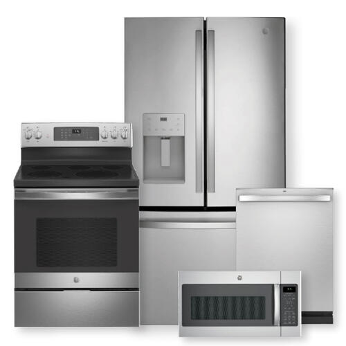25.6 Cu. Ft. Fingerprint Resistant French-Door Refrigerator & Free-Standing Electric Convection Range Package