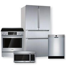 "BOSCH 36"" French Door Refrigerator & 30"" Electric Slide-In Range Package"