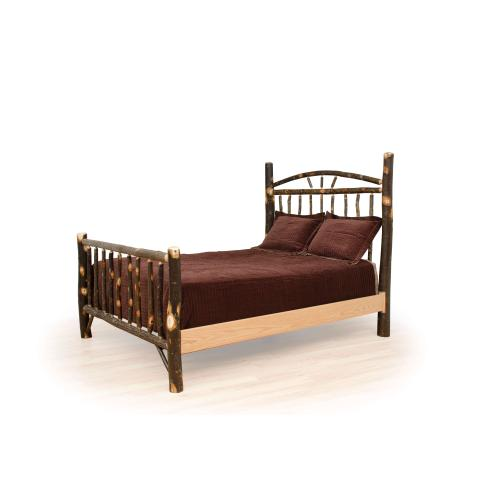 Queen Hickory Wagon Wheel Bed