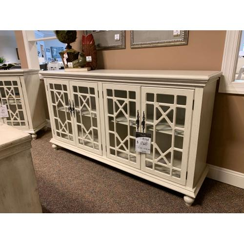 Cream Four Door Media Credenza with Glass Doors