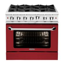 """See Details - Culinarian 36"""" Gas Manual Clean Range (Ruby Red)"""