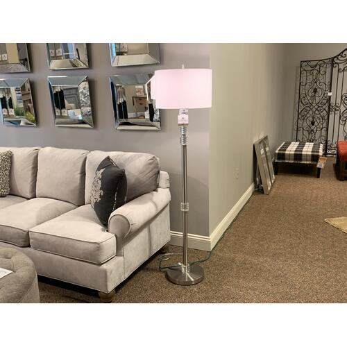 Chrome Floor Lamp with Crystal Accents
