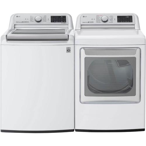 Packages - LG 5.5 cu. ft. White Top Load Washing Machine with TurboWash 3D and 7.3 cu. ft. White Electric Dryer with EasyLoad and TurboSteam