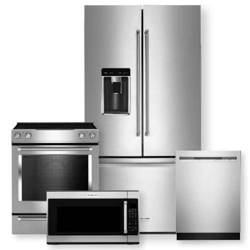 "KITCHENAID 36"" Counter-Depth French Door Platinum Interior Refrigerator & 30"" Electric Slide-In Convection Range- Minor Case Imperfections"